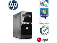 HP 500B MT PC Desktop 750 GB, Dual Core 3.2 GHz 4 GB Win 7 Pro WiFi DVDRW