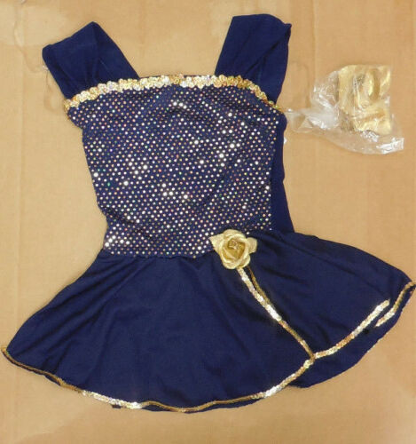 NWOT Small ch Dance COSTUME Navy Gold Metallic Rose Girls 4-6 Dance Pageant