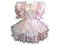 "/""Lorainne/"" Custom Fit Pink Long Sleeve SATIN Adult LG Baby Sissy Dress LEANNE"