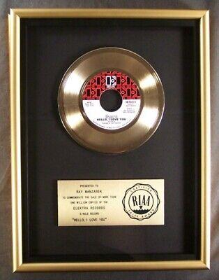 The Doors Hello I Love You 45 Gold RIAA Record Award Elektra Records To Ray