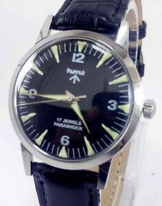 Vintage Mens HMT Military 17J Parashock Winding Wrist Watch For Gents Wear