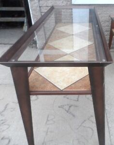 TV Solid Metal & Ceramic Tile HALL TABLE Accent Table STAGING