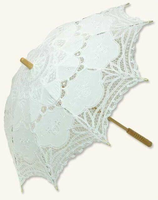 "Victorian Trading Co Battenberg White Lace Parasol NWD 39"" diameter 23D"
