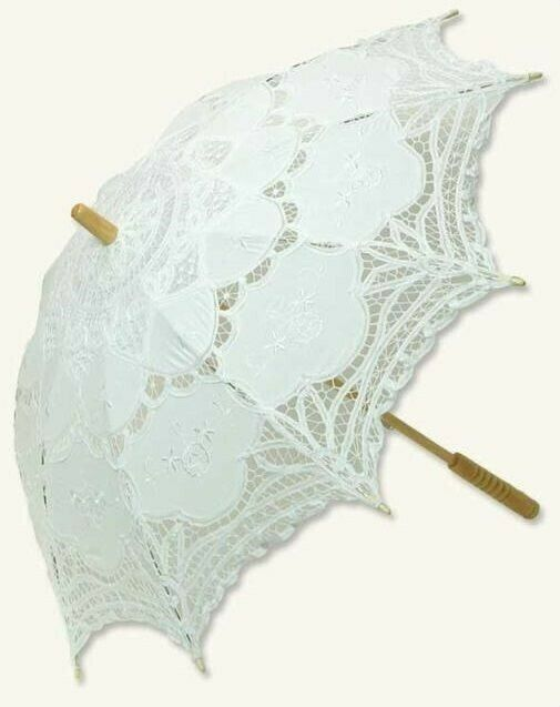 "Victorian Trading Co Battenberg White Lace Parasol 39"" diameter"