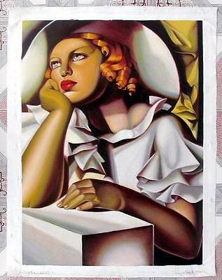 Ölbilder Ölgemälde Gemälde Lempicka: Jeune fille a la Fenetre (52x70cm)