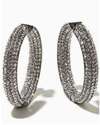 Joan Boyce Large Pave Crystal Inside & Outside Hoop Hematitetone/Black Earrings