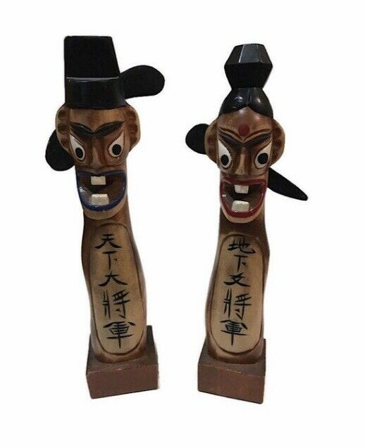 Hand Carved Wood Jang-seung Korean Good Fortune Statue Totems