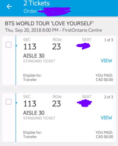 BTS tickets for Sept 20 show