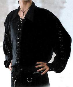 NEW Mens Black Goth/Pirate Lace-Up Eyelets Shirt, L