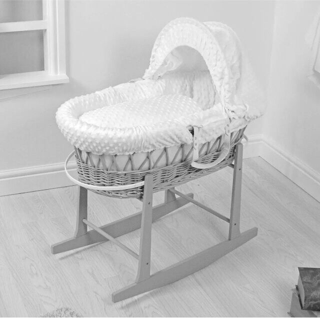 BRAND NEW BABY MOSES BASKET WITH STAND GREY
