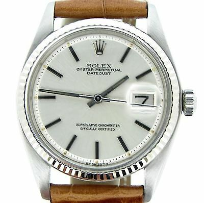 Rolex Datejust Men Stainless Steel & 18K White Gold Watch Silver Dial Brown 1601