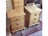 Lovely quality solid pine pair of bedside tables / drawers