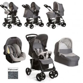 Full Hauck travel system 3 in 1 Pushchair in clean & good condition comes with Carrycot and Car Seat