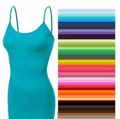 Tank Top Cami Zenana With Built in Shelf Bra Long Spaghetti Strap S/M/L/XL ](Top Deals)