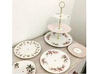3 tier fine bone China cake stands, lots of beautiful plates to choose from