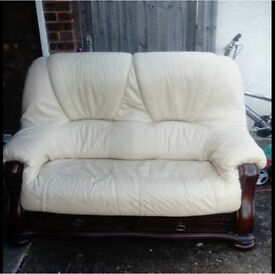 2x2 cream leather sofas