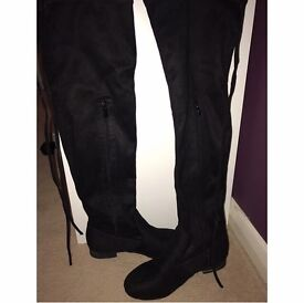 Black Suede Over the Knee boots, tie at the back, size 4