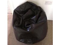 Brown Faux Leather Beanbag Seat Pouffe