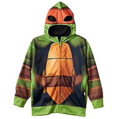 TMNT Teenage Mutant Ninja Turtle Michelangelo Hoodie w/ Mask Orange Boys Size (Ninja Turtle Kostüme Hoodie)