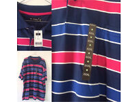 Men's Navy Pink & White Polo shirt 3XL New With Tags £5 From smoke & pet free home