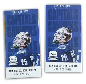 Canucks Vs Capitals - October 22 At 7pm