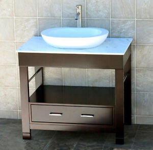 Quartz Vessel Sink : ... -Vanity-Cabinet-White-Tech-Stone-Quartz-Glass-Vessel-Sink-CG-7737