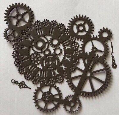 "GIANT CLOCK GEARS Die-Cuts(6pc)6-1/4""x5.5 Steampunk•Cog•Sprocket•Machine•Antique"