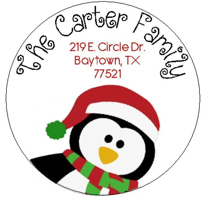 CUTE HOLIDAY PENGUIN  -  Round Return Address Labels