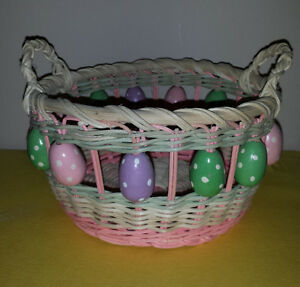 Easter Basket with Handles : Wooden Eggs : Wicker