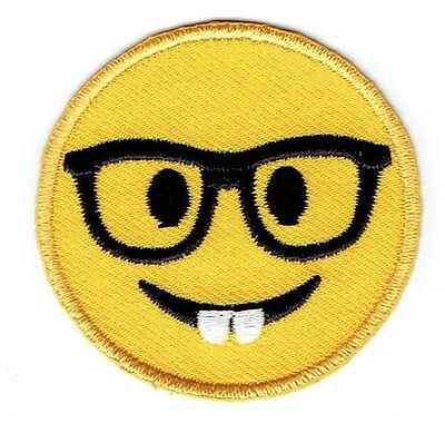 LARGE Smiley Face Emoji - Nerd with Glasses - Iron on Applique/Embroidered (Nerds With Glasses)