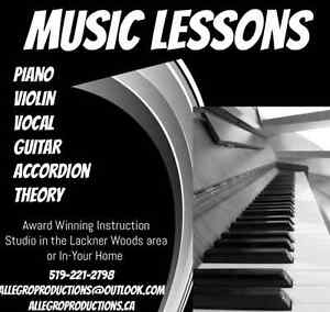 Vocal, Violin, Piano, Guitar, Musical Theatre, Accordion Lessons Kitchener / Waterloo Kitchener Area image 1