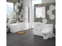 Bathroom vanity and shower bath suite