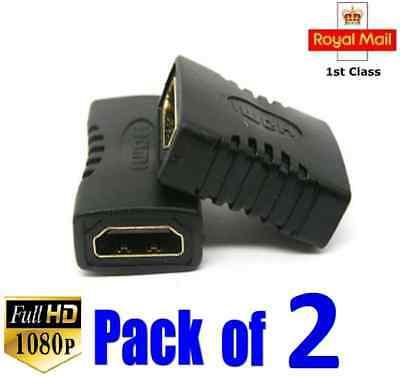 2 HDMI EXTENDER FEMALE TO FEMALE COUPLER ADAPTER JOINER CONNECTOR for 1080P HDTV
