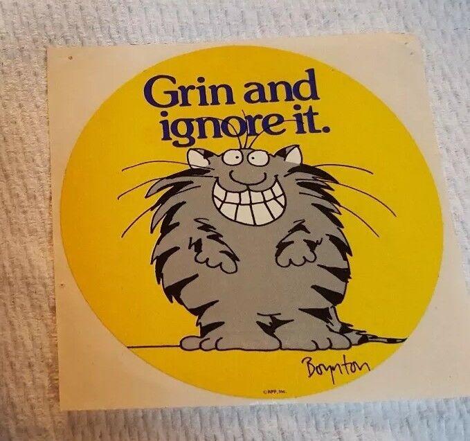 "Vintage Sandra Boynton Cat Sticker ""Grin and ignore it."""