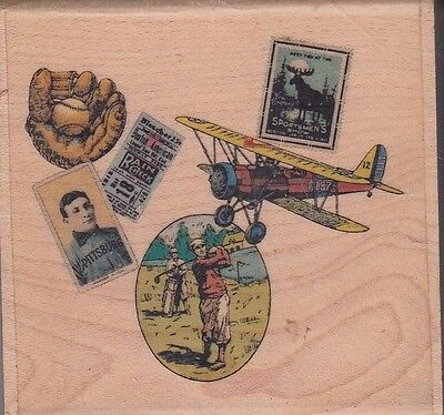 """sportsman collage uptown Wood Mounted Rubber Stamp 2 x 2""""  Free Shipping"""