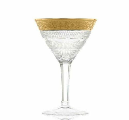 Moser Splendid Gold Crystal Champagne Glasses 5 7/8