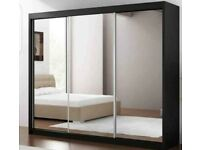 💥💯WAREHOUSE SALE 2 DOORS SLIDING WARDROBE WITH FULL MIRRORS ALL SHELVES & RAILS INCLUDED