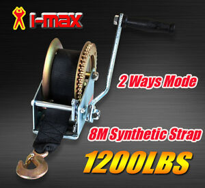 1200LBS/544KGS 2-Ways Synthetic Strap Hand Winch Manual Car Boat Trailer Camper