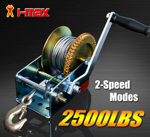 2500BLS/1136KGS 2-Speed Cable Hand winch For Boat, Trailer and 4WD