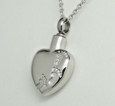 Engraveable Heart Urn Necklace, Footprints in the Sand Ashes Keepsake
