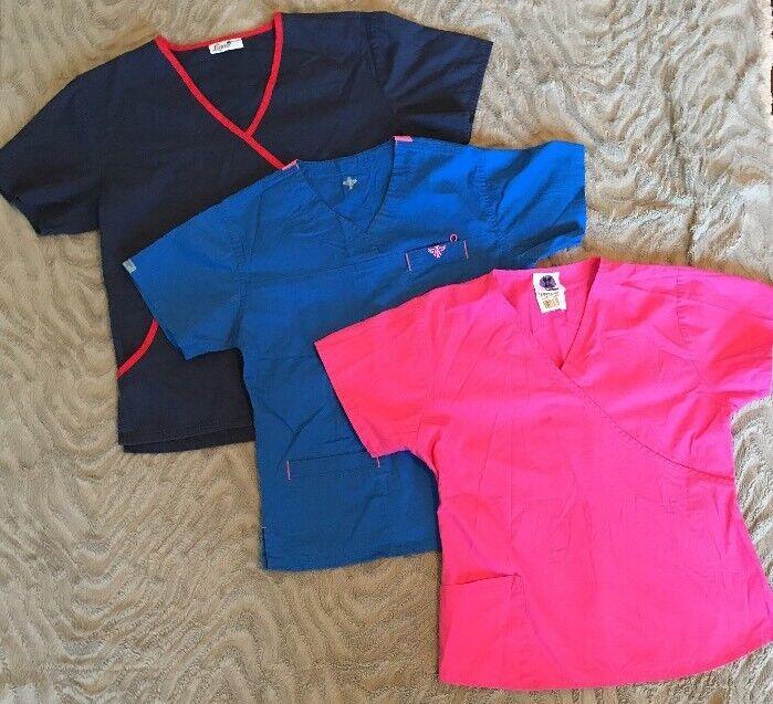 Mixed Lot 3 Scrubs Tops Sz M Liana Couture Landau Medical Nurse Dental Pink Blue