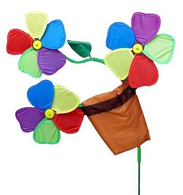Three Colorful Flowers in Pot Wind Spinner Outdoor Garden Decor 40 x 19.5 x (Flower Pots Spinner)