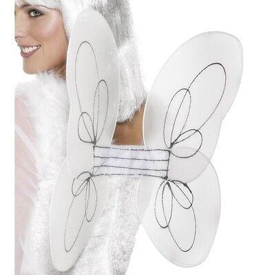Smiffy Engel Kostüm (Kostüm Fee Engel Flügel Weiß Glitzer 50x30cm von Smiffys Neu)