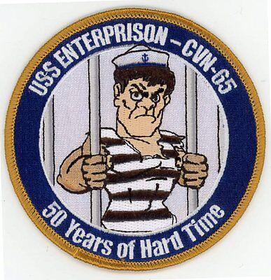 """USS Enterprison - CVN-65"" Patch ""50 Years of Hard Time"" Enterprise Humor Patch"