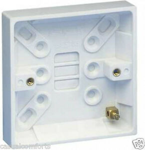 1G-1-GANG-SURFACE-MOUNTING-PATTRESS-ELECTRICAL-SOCKET-BACK-BOX-16MM-WHITE-SLIM