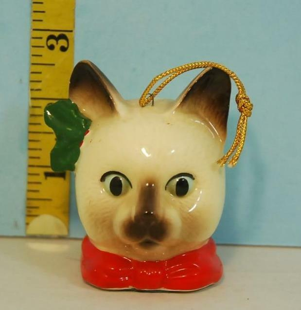 Vintage Christmas Siamese Cat Head Porcelain Hanging Ornament Made in Japan