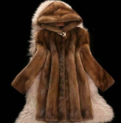 Fashion Ladies Mink Fur Long Coats Lapel Thicken Winter Jacket Warm Women -