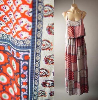Patchwork Print Boho Americana Country Western 70s Slip Maxi 274 mv Dress S M L