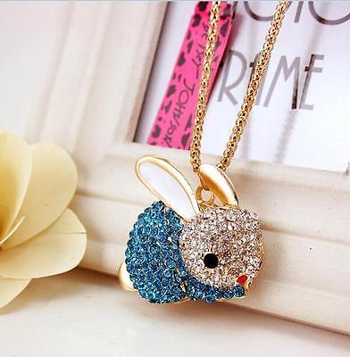 Betsey Johnson Pendant Bunny Jewelry Rhinestone Women Gold Chain Charm Necklaces