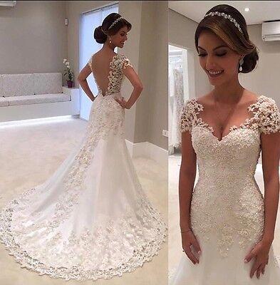 Wedding Dress Cap - UK Beaded White Cap Sleeve Mermaid Pearls Lace Wedding Dress Bridal Size 8